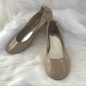 So Ballet Flats Nude Beige 8.5 Faux Patent Leather